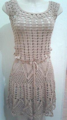 Crochet Beach Dress, Crochet Summer Dresses, Summer Dress Patterns, Crochet Tunic, Crochet Clothes, Trendy Dresses, Fashion Dresses, Summer Knitting, Vintage Knitting
