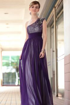 2013 Prom Dresses Fast Delivery Purple A Line One Shoulder Chiffon 30653 USD 219.99 VPJZH6DGG - VoguePromDresses