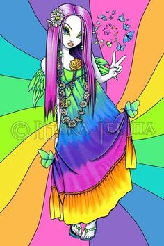 Chloe Rainbow Hippie Fairy 4x6 Inch Embellished Canvas Prints Myka Jelina V.2 in Art, Artists (Self-Representing), Prints | eBay
