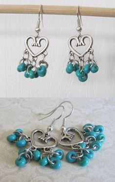 Blue Turquoise Silver Heart Chandelier Earrings. by BoutiqueEV