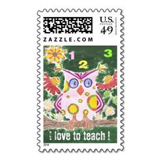 I love to teach owl postage stamps by ArianeC from iCraftCafé . #teacherpostage