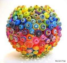Upcycled Round Rainbow Vase Sculpture made from Magazines