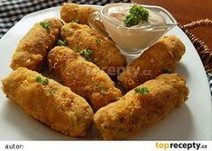 Kuřecí prsty recept - TopRecepty.cz No Salt Recipes, Food Dishes, Chicken Wings, Sausage, French Toast, Food And Drink, Low Carb, Treats, Cooking