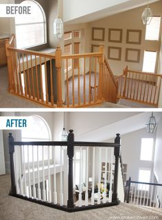 How to Paint / Stain Wood Stair Railings (Oak Banisters & Spindles) WITHOUT SANDING! Oak Banister, Wood Railings For Stairs, Banisters, Wooden Stairs, Black Railing, Bannister Ideas Painted, Staircase Banister Ideas, Painted Stair Railings, Stairs Trim