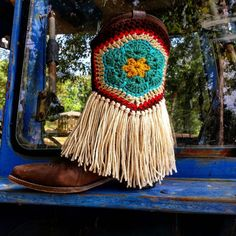 Crochet boot skirts with fringe. Colors include: dark brown, tan, red, turquoise and teal . The bootskirts can be machine washed on gentle cycle in cold water and tumble dried on low.