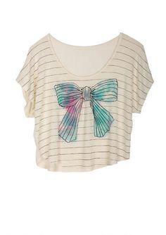 White Stripey Bow T-Shirt