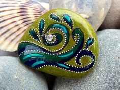 Eye of the storm / ocean mist / painted rock / painted stone / Sandi Pike Foundas / love from Cape Cod by LoveFromCapeCod on Etsy
