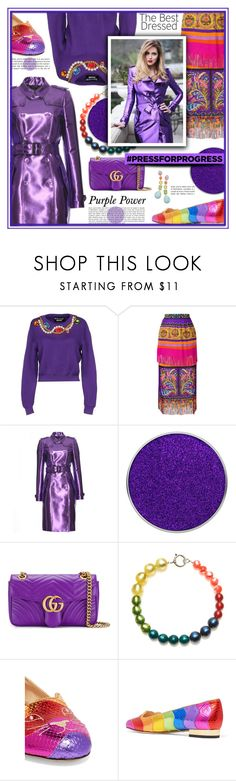"""""""International Womens Day"""" by noralyn ❤ liked on Polyvore featuring Boutique Moschino, Etro, Burberry, Suva Beauty, Gucci, Charlotte Olympia, Ippolita, purplepower, internationalwomensday and pressforprogress"""