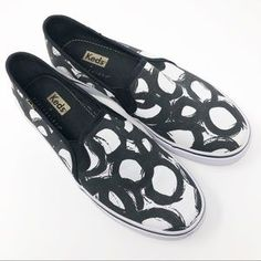Shoes | Nwot Keds X Party Skirts Keds Black White | Poshmark Loafer Flats, Loafers, Party Skirt, Keds, Super Cute, Slip On, Ootd, Black And White, Sneakers