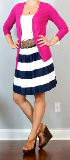 Navy blue and white stripe dress with pink cardigan w/brown belt