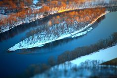 Like a Boat, Overturned. Connecticut River aerial, over western Massachusetts in January. Michaela Harlow.