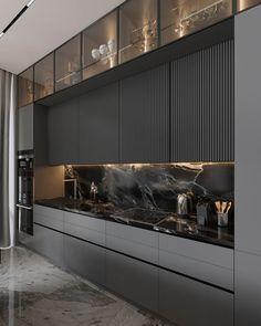 Modern Kitchen Interiors, Luxury Kitchen Design, Kitchen Room Design, Interior Design Kitchen, Kitchen Decor, Modern Kitchen Cabinets, Home Design Decor, Küchen Design, House Design