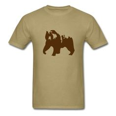 Khaki Grizzly bear T-Shirts - Men's T-Shirt Basketball Design, Bear T Shirt, Bear Men, Logo Ideas, Lincoln, Mens Tops, Shirts, Clothes, Style