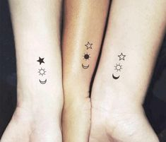 Matching Crescent Sun-And-Star-Temporary Tattoo (Set of tattoos Matc. - Matching Crescent Sun-And-Star-Temporary Tattoo (Set of tattoos Matching the crescent, - Wrist Tattoos Girls, Tiny Tattoos For Girls, Sibling Tattoos, Cute Small Tattoos, Tattoos For Daughters, Mini Tattoos, Three Sister Tattoos, 3 Best Friend Tattoos, Awesome Tattoos