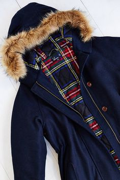 Fred Perry Wool Fishtail Parka - Urban Outfitters Fishtail Parka, Cute Coats, Fred Perry, Fur Trim, Fitness Models, Urban Outfitters, Plaid, Fashion Outfits, Wool