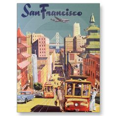 Vintage Travel Poster, San Francisco, California Post Card from Zazzle.com