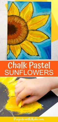 These chalk pastel sunflowers are so colorful and beautiful! Kids will learn easy chalk pastel techniques to create this fun sunflower art project! Chalk Pastel Art, Chalk Pastels, Chalk Art, Summer Art Projects, Cool Art Projects, Projects For Kids, Toddler Art Projects, Children Art Projects, Kids Art Lessons