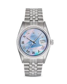 Pre-Owned Rolex Stainless Steel Mid-Size Datejust Watch with White Mother-of-Pearl Dial and Diamonds, 31mm | Bloomingdales's