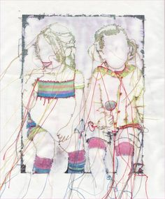 Textil Kunst: zwei mal Pippi Freehand Machine Embroidery, Free Motion Embroidery, Thread Art, Thread Painting, Art Textile, Textile Artists, Embroidered Paper, Textiles, Stitch Drawing