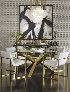 Too much for me, but Black white and gold would lift the dining room. High Fashion Home -- Gold Interior room design art deco Modern Dining Room Ideas Modern Dining, Gold Dining Room, Dining Room Small, Modern Dining Table, Dining Room Design, Gold Dining, Home Decor, Luxury Dining, Dining Room Decor