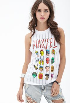 Striped Marvel Muscle Tee #F21StatementPiece Teen outfit cute clothes marvel inc