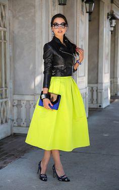 Neon skirt + leather jacket + Isabel Marant heels - the marant philes