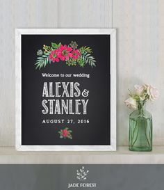 ♥ CLICK NOW TO SAVE 10% (Coupon code: PIN10) ▷ Wedding Welcome Sign DIY // Chalkboard Flower // Printable Poster PDF  // Welcome To Our Wedding  ▷ Customized Sign by JadeForestDesign on Etsy