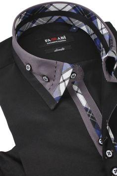 F4 Black Shirt | Farrabi Slim Fit | Exclusive Luxury Shirts Camisa Polo, Indian Men Fashion, Mens Fashion, Mens High Collar Shirts, Best Leather Jackets, Mens Designer Shirts, Tactical Clothing, Shirt Style, Men Dress