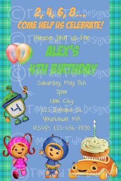 umizoomi invite - Alexander party theme wishlist