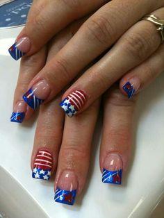 51 Really Cool of July Nail Art Design Ideas Holiday Nail Designs, Holiday Nail Art, Colorful Nail Designs, Nail Art Designs, Nails Design, Fancy Nails, Pretty Nails, Nail Bling, Classy Nails