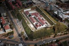 An aerial view of The Old Fort Prison at Constitution Hill,  Johannesburg, South Africa, A bastion of Apartheid history.
