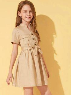 Girls Flap Pocket Front Self Belted Shirt Dress – gagokid Teenage Girl Outfits, Girls Fashion Clothes, Dresses Kids Girl, Cute Girl Outfits, Kids Outfits, Girl Fashion, Fashion Outfits, Stylish Dresses, Cute Dresses