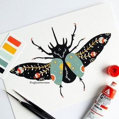 Yay another friend is painted! :-) I have asked your opinion for the next animal and most of you responded that I should draw a beetle. Lotus Tattoo Design, Graphic Design Illustration, Illustration Art, Illustrations, Gouache Painting, Painting & Drawing, 42 Tattoo, Bonnet Crochet, Bee Art