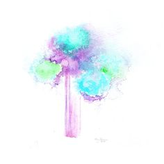 abstract flowers watercolor blue green purple original wall art decor handmade painting love gift for her modern design flowers decor art 6,48 $