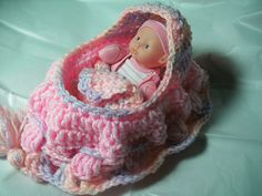 Crochet doll cradle turns into purse!