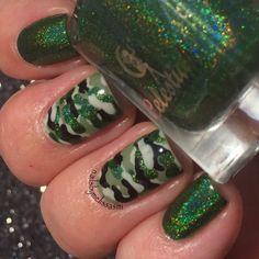 My holo camo nails