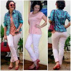 blog v@ LOOKS   por leila diniz: Look romântico sem camisa e alegre com camisa + CALÇA ROSA BEBÊ 4º look semana temática + msg DEUS