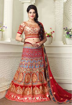 Light Blue and Red Net Lehenga Choli with Dupatta: LDW777