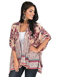 Angie Women's Taupe, Burgundy, and Teal Multi Print 1/2 Sleeve Kimono