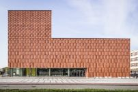 Built by in Katowice, Poland with date Images by Jakub Certowicz. In 2002 a competition was launched by the University of Silesia for the design of a new library that would provide a . Concrete Facade, Brick Facade, Facade Architecture, Contemporary Architecture, Sandstone Slabs, Sandstone Cladding, Brick Building, Brick And Stone, Facade Design