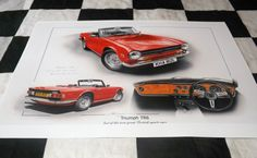 TRIUMPH TR6 TR 6 2.5 STRAIGHT 6 1972 NEW PAINTING PRINT ART CHRISTOPHER DUGAN A+ Artwork Prints, Painting Prints, Car Manuals, Brochure Paper, Great British, Limited Edition Prints, Brochures, Literature, Gallery