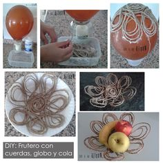 Frutero con cuerda, cola y un globo/ fruiterer with ropes, glue an a balloon