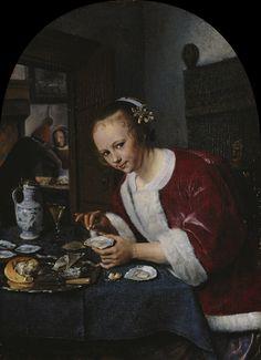 Ragazza che mangia ostriche, Jan Steen (1658-1660 ca)   See more at:  http://www.tripartadvisor.it/la-ragazza-con-lorecchino-di-perla-palazzo-fava/