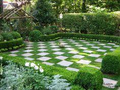 Checkered Green Grass Lawn With Wooden Pergola For Fantastic Landscape Design Fabulous Lawns Ideas in Landscape Design for Greenery Relaxing Nuance garden design