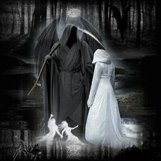 Death & the maiden - Blingee image Grim Reaper Art, Grim Reaper Tattoo, Female Grim Reaper, Dark Fantasy Art, Dark Art, Grim Reaper Pictures, Reaper Quotes, Gothic Wallpaper, Warrior Angel