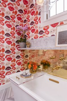"As I mentioned before, the 2015 San Francisco Decorator Showcase featured lots and lots of beautiful wallcoverings. One space that stood out, was the ""Lip Service"" teen girl's bathroom by designers Je"