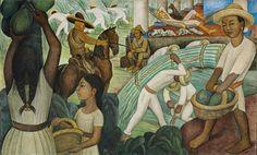 "MURAL CAÑA DE AZÚCAR DE DIEGO RIVERA.- Fresco sobre cemento reforzado en estructura de acero galvanizado, 57 1/8 x 94 1/8"" (145.1 x 239.1 cm). Philadelphia Museum of Art. Donación del Sr. y la Sra. Herbert Cameron Morris, 1943. © 2011 Banco de México Fundación de Museos Diego Rivera y Frida Kahlo, México, D.F./Artists Rights Society (ARS), New York"