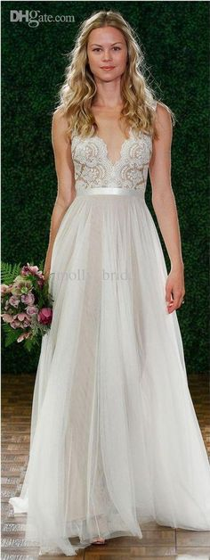 Free shipping, $114.16/Piece:buy wholesale  2015 Charming See Through Wedding Dresses V-neck Sheer Casual Wedding Dress with Sweep Train Summer Beach Bridal Gowns Cheap Sexy2014 Fall Winter,Sweep Train,Reference Images on molly_bridal's Store from DHgate.com, get worldwide delivery and buyer protection service.