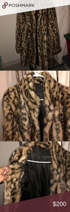 Fabulous Furs Faux Fur Leopard Coat Leopard print knee length faux fur coat from Fabulous Furs. Size 2X- missing the size tag but selling for my mom and she told me the size. Perfect condition- worn once.  Shell: 100% acrylic facing, 100% polyester backing Lining: 100% polyester Fabulous Furs Jackets & Coats