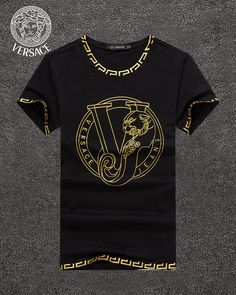 Gucci T Shirt Mens, Versace T Shirt, Versace Men, Shirt Print Design, Shirt Designs, T Shirt Photo Printing, Casual Wear For Men, Adidas Outfit, T Shirt Costumes